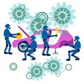 Flat Robots repair the car. Car assembly is automated in minimalist style. Cartoon