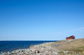 Flat rock coast view at the swedish island oland Royalty Free Stock Images