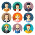 Flat round avatar icons faces people icons vector Royalty Free Stock Image