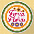 Flat Round Button like Colombian Silleta for the Flowers Festival, Vector Illustration
