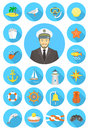 Flat round nautical icons with young attractive captain Royalty Free Stock Photo