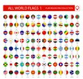 Flat Round Pin Icons of All World Flags. Part 1
