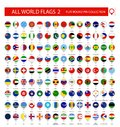Flat Round Pin Icons of All World Flags. Part 2