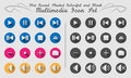 Flat round shadowed media icons colourful for web or printable or use for softwares Royalty Free Stock Photos