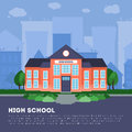 Flat school building in big city Royalty Free Stock Photo