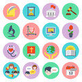 Flat school icons set of educational of different subjects and concepts Royalty Free Stock Photography