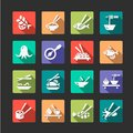 Flat seafood icons color icon set Stock Photo
