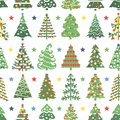 Flat seamless pattern with Christmas trees. Holidays background. Abstract  line art drawing woods. Vector Holidays illustration Royalty Free Stock Photo