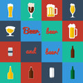 Flat set of beer glass and bottles icons Royalty Free Stock Photo