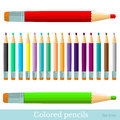Flat set of color pencils red greenviolet yellow blue black brown orange grey isolated on whiten Stock Photo