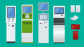 Flat set vector online payment systems and self-service payments terminals, debit credit card and cash receipt. NFC