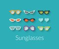 Flat set of vector sunglasses with shadow Royalty Free Stock Photo