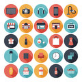 Flat shopping icons set modern vector with long shadow effect in stylish colors of objects and items isolated on white background Stock Photo