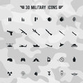 Flat silhouette military army and soldier weapon transportion icon