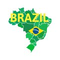 Flat simple brazil map vector background illustration Royalty Free Stock Photography