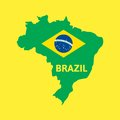 Flat simple brazil map vector background illustration Stock Photos