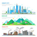 Flat Smart city Eco life Industry nature pollution