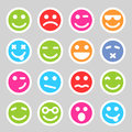 Flat smiley icons and round for your design Stock Photos