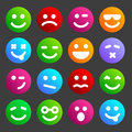 Flat smiley icons and round for your design Stock Photography