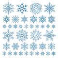 Flat snowflakes. Winter snowflake crystals, christmas snow shapes and frosted cool icon vector symbol set Royalty Free Stock Photo