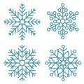 Flat snowflakes. Winter snowflake crystals, christmas snow shapes and frosted cool blue icon, cold xmas season frost snowfall Royalty Free Stock Photo