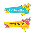 Flat speech bubble shaped banners with text SUPER SALE, price ta
