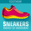 Flat sport sneakers background concept. Vector Royalty Free Stock Photo