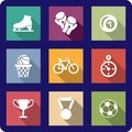 Flat sporting icons set Royalty Free Stock Images