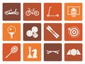 Flat sports equipment and objects icons Royalty Free Stock Photo