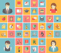 Flat square school icons set of modern of subjects teachers and pupils Royalty Free Stock Photos