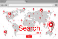Flat style browser search engine. World map with pins