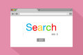 Flat style browser window on pink background