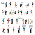 Flat style business people figures icons. Royalty Free Stock Photo