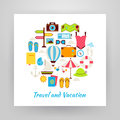 Flat Style Circle Vector Set of Summer Vacation and Travel Objec