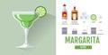 Flat style cocktail menu design. Cocktail margarita recipe