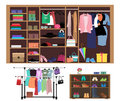 Flat style concept of wardrobe for women. Stylish closet with women's fashion, clothes, shoes and bags.