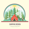 Flat style design of retro forest landscape and capming. Royalty Free Stock Photo