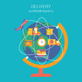 Flat style design vector worldwide global delivery concept illustration shipping logistics collage of globe routes plane ship van Royalty Free Stock Image