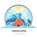 Flat style design of winter Mountains landscape and camping tent