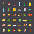 Flat style food and beverages icon set big colorful Royalty Free Stock Photo