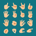 Flat style hand gesture icon set vector Royalty Free Stock Images