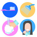 Flat style hygiene icons, illustration of personal care