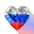 Flat style logo symbol of love Russia.