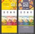 Flat style pizza menu concept Web site design.