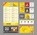 Flat style pizza menu design. Document template.