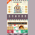 Flat style pizzeria cafe design. Web site design. Pizza menu
