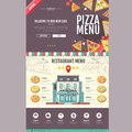 Flat style pizzeria cafe design. Web site design.
