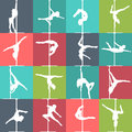Flat style pole dance and pole fitness icons. Vector silhouettes of female pole dancers. Royalty Free Stock Photo