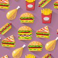 Flat style seamless pattern fast food background