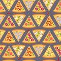 Flat style seamless pattern pizza background
